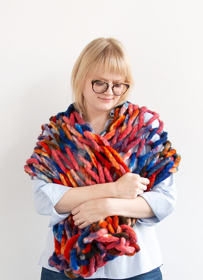 The 45-Minute Wrap, a free arm knitting pattern made with Zen Yarn Garden's Big Up! jumbo weight yarn.