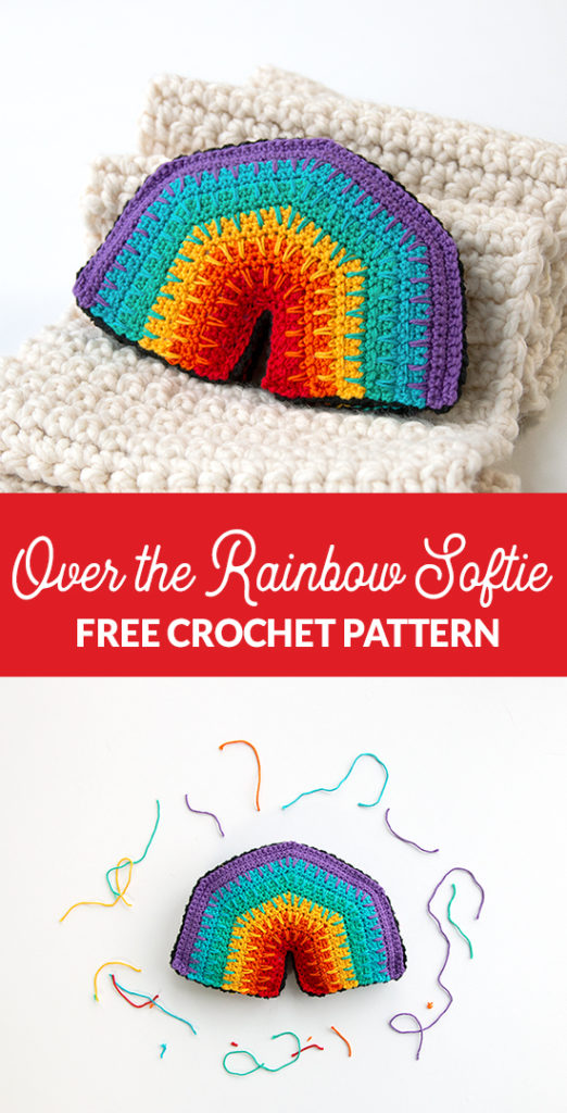 Over the Rainbow Softie, a free crochet pattern using 1 package of Lion Brand Bonbons yarn. Crochet an adorable, on-trend softie toy that easily doubles as DIY nursery decor.