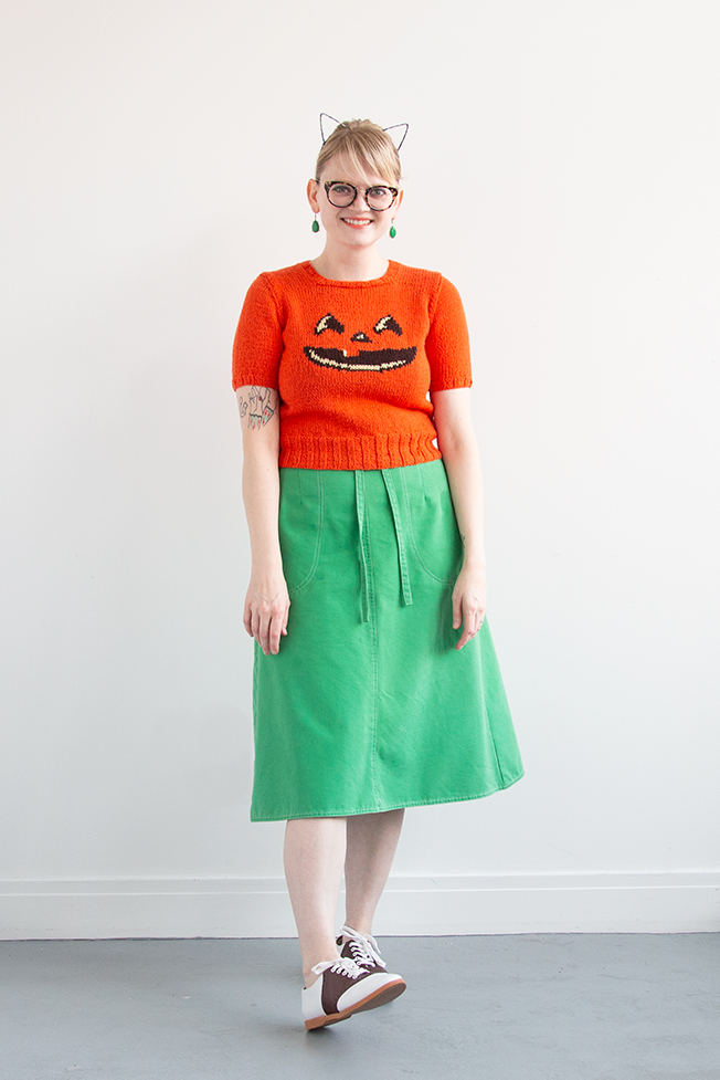 Read about how this intarsia jack-o'-lantern sweater came to be, and the joy of making exactly what you want to make, just for you.