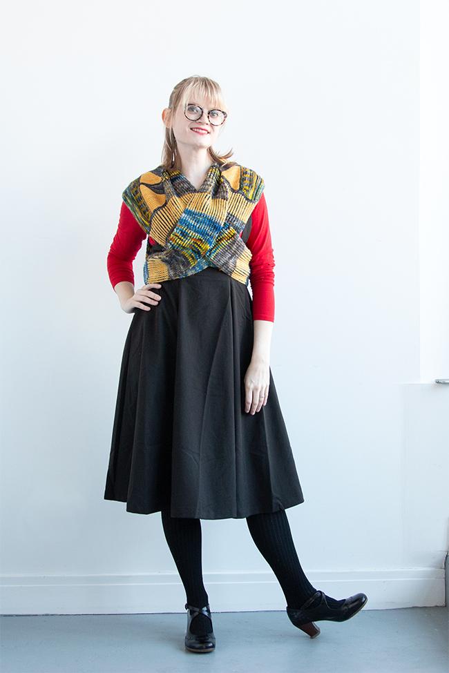 Designer Heidi Gustad models the new Chrysler Arch Shawl, a knitting pattern designed with Zen Yarn Garden yarn.