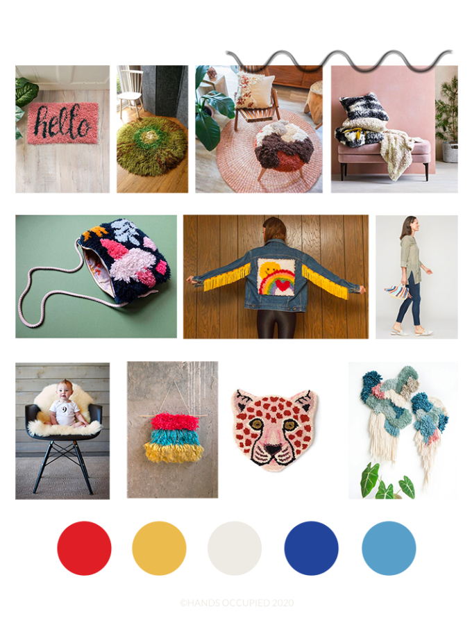 A sneak peek at some of the design inspiration for Heidi Gustad's upcoming Latch Hook Book, fall 2020.