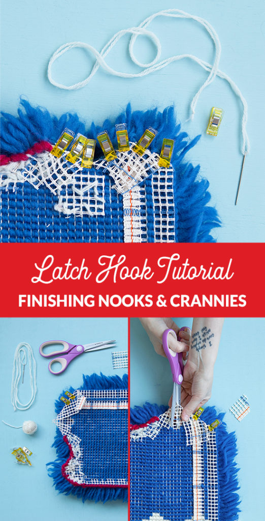 Finishing Nooks and Crannies in Latch Hook Tutorial: The hardest part about finishing latch hook projects is dealing with small nooks and crannies. What do you do when your edge has no seam allowance? What to do when edges are fraying before your eyes? Learn how to troubleshoot challenging finishing spots in this new latch hook tutorial from Hands Occupied.