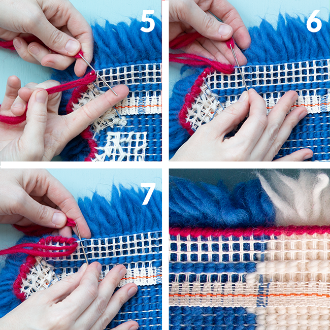 Learn how to bind latch hook project edges using whip stitch with this step by step photo tutorial on the Hands Occupied Blog. #latchhook #yarncrafts #rugmaking #handsoccupied