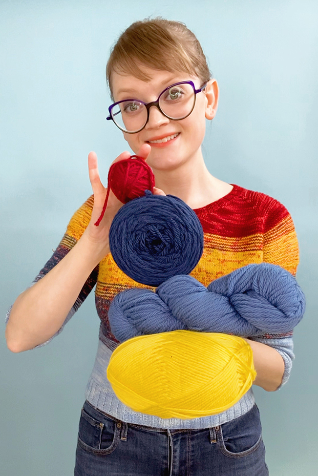 A still from the new @handsoccupied TikTok page, specifically a video explaining the different names for yarn balls.